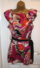 NEW LADIES STAR JULIEN MACDONALD TUNIC SIZE 12, Floral satin belted satin  Top