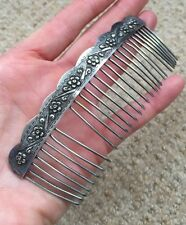 Antique Silver Plate Repousse Flower Motif Hair Comb