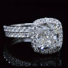Real 3.40 Ct Halo Pave Cushion Cut Diamond Engagement Ring Set D,VS1 GIA 14K WG