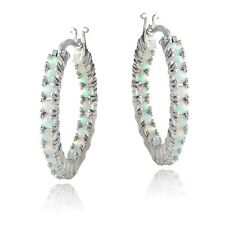 Lab Created White Opal Inside Out Hoop Earrings