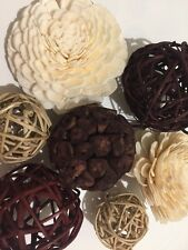 Gift Pack Mix Rattan Balls Brown Colour And Sandalwood Scented Flower