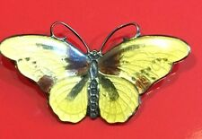 Vintage/Antique Enamel Butterfly Brooch CXSTERLING Yellow w Brown 1.5""