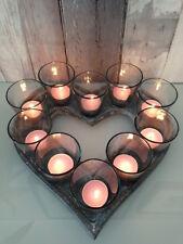 Plateau vintage en forme de coeur avec les titulaires de lumière de thé Jardin Décoration de Table Mariage