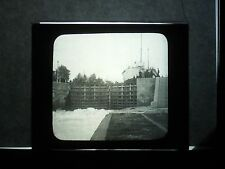 VINTAGE COLLECTIBLE GLASS PICTURE NEGATIVE Down Lockage in Canal  Marie Michigan