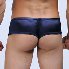 Blue Men Low-rise Cheeky Briefs Underwear Micro Boxer Pants Thong Bikini Brief