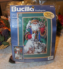 Vintage Bucilla NORTH POLE SANTA Needlepoint Canvas # 60765- Loose Set
