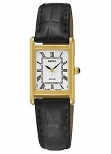Ladies Seiko Solar Square Black Leather Band Roman White Dial Watch SUP250