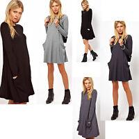 Tunika Longshirt Damen mit Taschen Kleid Minikleid JAPAN Style S M L XL XXL