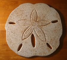 "Large 13"" Realistic Wood Sand Dollar Nautical Beach Home Decor Shell Sign NEW"
