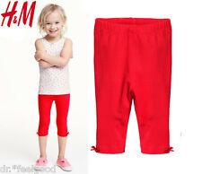 Authentic H&M Red 95% Organic Soft Cotton Red Leggings Baby Kids Girl ~ New