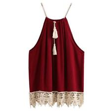 New Fashion Women Sexy Tank Top Vest Cami Lace Tasselled Drawstring Loose Blouse