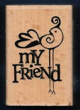 MY FRIEND BIRD Swirl Design Hampton Art NEW 2010 Wood Mount Craft RUBBER STAMP