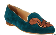 C. Wonder Squirrel Embroidered Suede Loafers - Chelsea Peacock 6W