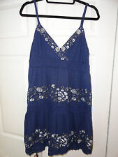 INC INTERNATIONAL CONCEPTS WOMEN'S BLUE DRESS WITH SILVER DESIGN SIZE L