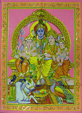 Indian Shiva Family Sequined Wall Hanging Hot Pink Background Fair Trade * Large