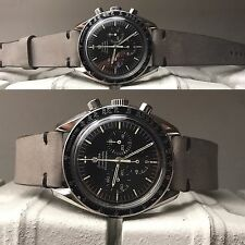 20 mm wolf Gray Leather Strap for vintage speedmaster carrera triple date aopa