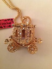 "GOLD PRINCESS CARRIAGE 28"" Pendant Necklace Betsey Johnson"