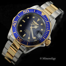 Automatic Invicta Pro Diver 18k Gold IP Two Tone Blue Dial $345 NEW Mens Watch !