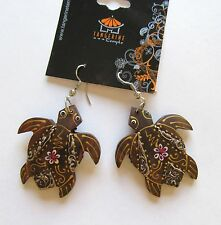 Fashion Earrings-  turtles brown wood pretty design flower french wire