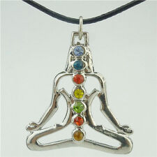 "Alloy Dull Silver Chakra Pendant Buddha Yoga Meditation Crystal 17"" Necklace"