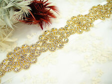 Stunning Gold Crystal Bridal Applique Beaded Motif Diamante Wedding Applique
