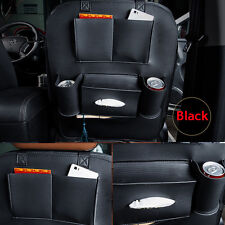 Black Car Seat Back Bag Holder Leather Organizer Storage Cup iPad Phone Pocket