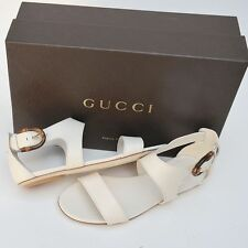 GUCCI New sz 39 - 9 Auth Womens Bamboo Designer Flats Shoes Sandals Off White