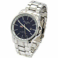 Mens Stainless Steel Metal Band Blue Dial Day and Date Quartz  Wrist Watches