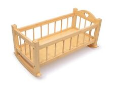 Natural Wooden Doll's Rocking Cradle Cot Crib Girls Babies Children Sleep Night