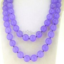 "Fashion 2 Rows 8MM Natural Lavender Jade Round Gemstone Necklace 18-19""AAA"