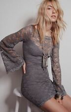 New $118 Free People Lovely in Lace Bodycon Mini Dress Slate X-SMALL