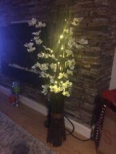 """Bethlehem Lights - 36"""" Floral Twig Arrangement , 30 LED BO lights, White  Orchid"""