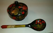 Vintage 70s Hand Painted Russian Wooden Bowl With Lid & Spoon Made In The USSR