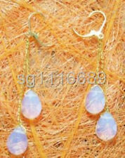 White Blue Fire Opal Drop Yellow Gold Plated Link Hook Dangle Earrings