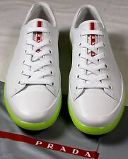 PRADA SPORT SHOES WHITE NEON YELLOW WRAPPED LOW PROFILE CAPTOE TRAINER 10 43 NEW
