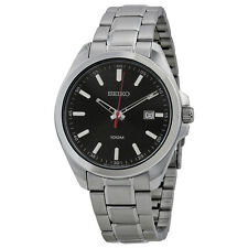 Seiko Black Dial Stainless Steel Mens Watch SUR061