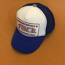 AUTH CHROME HEARTS BLUE & WHITE EMBROIDERY FXXK PATCHED & CROSS BUTTON TRUCK HAT