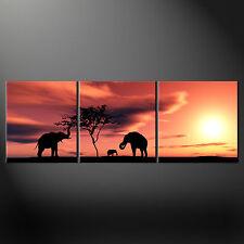 ELEPHANTS SUNSET MODERN DESIGN 3 PANELS CANVAS PRINT ART PICTURE FREE UK P&P