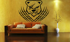 Wall Stickers Vinyl Decal Animal Grizzly Bear Claw Rage Scar Wall Decor ig036