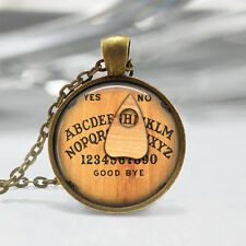 Vintage letter Cabochon Bronze Glass Chain Pendant Necklace bt26