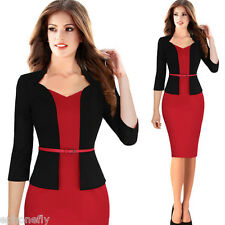 Womens Elegant Long Sleeve Bodycon Office Work Stretch OL Pencil Dress With Belt