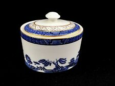 """Royal Doulton Booths Real Old Willow Blue Pattern Sugar Bowl With Lid  2 7/8"""""""
