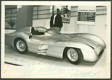 JUAN MANUEL FANGIO WITH  YOUR  MERCEDES BENZ SILVER ARROW  PHOTO SIGNED
