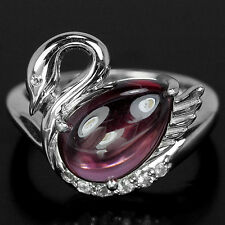 Silver 925 Genuine Natural Pear Cabochon Rhodolite Swan Ring Size L.5 (US 6)