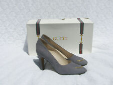 AUTHENTIC Gucci VINTAGE Grey Suede CHAIN Pumps LOGO Heels Dress Shoes SOLD OUT