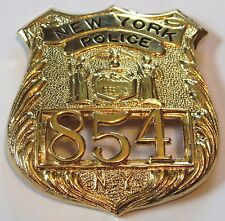 Obsolete~ New York Police Badge #'d on Front  Vintage NY Gold Color Clip On