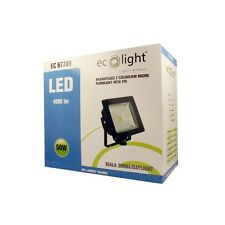 Ecolight 50W LED Floodlight (Black) With PIR Motion Detector & .5m Cable