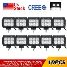 10x 18W 4inch Flood Beam LED Lights Bars Fog Work Lamps Offroad Driving PK Osram