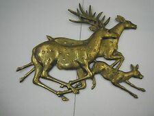 Vintage Rosenthal Netter Cast Brass Run Deer Plaque Wall Hanging Buck Doe Fawn