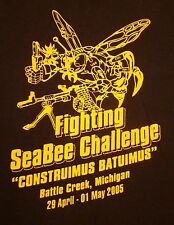 US NAVY Seabees Michigan lrg T shirt military CBs construction 2005 Constuimus
